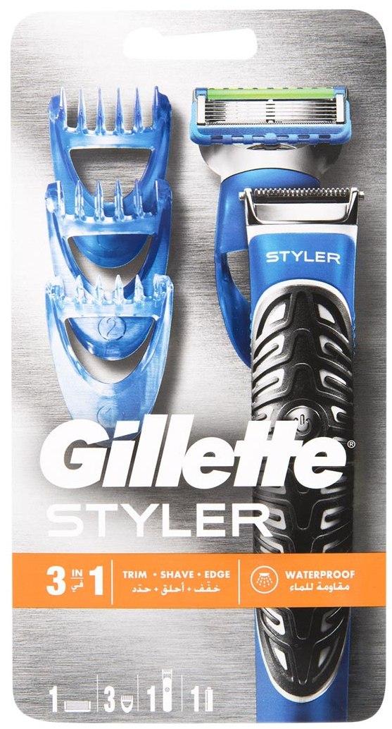 Gillette Fusion ProGlide Power Styler 3v1 bateriový holicí strojek se zastřihovačem + holicí hlavice + 3 x zastřihovací hřebínky + baterie, kosmetická sada