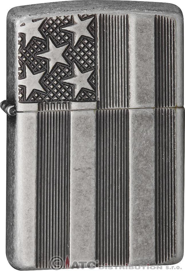 Zapalovač Zippo U.S.FLAG ARMOR ANT.SLV. 27119 (Benzín Zdarma)