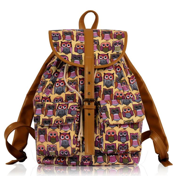 Batoh LS00269C - Beige Owl Print Rucksack Bag - Canvas