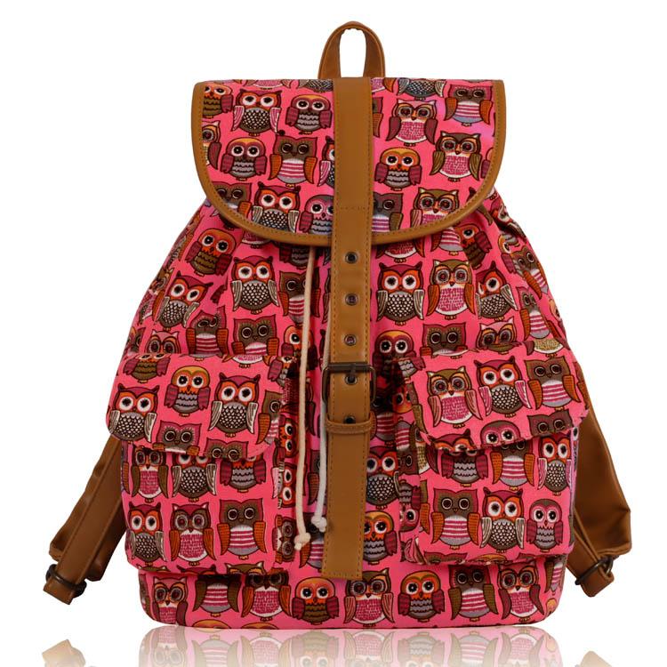Batoh LS00269C - Pink Owl Print Rucksack Bag - Canvas