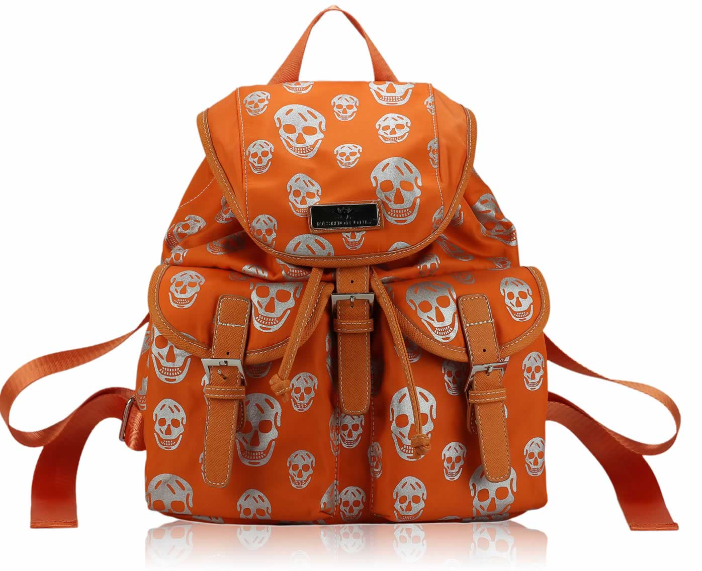 Batoh LS00271 - Orange Skull Print Unisex Rucksack Shoulder Bag