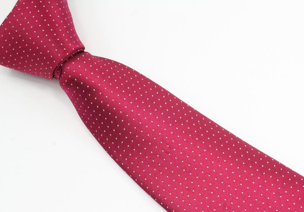 Červená pánská kravata s bílými puntíky