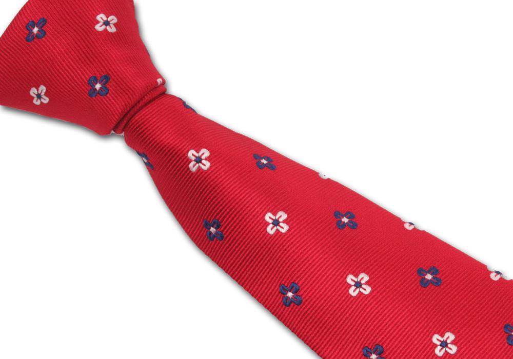 Červená pánská kravata s kytičkami