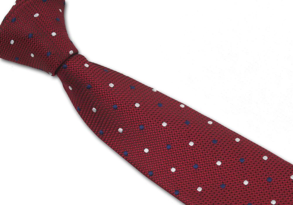 Červená pánská kravata s barevnými puntíky