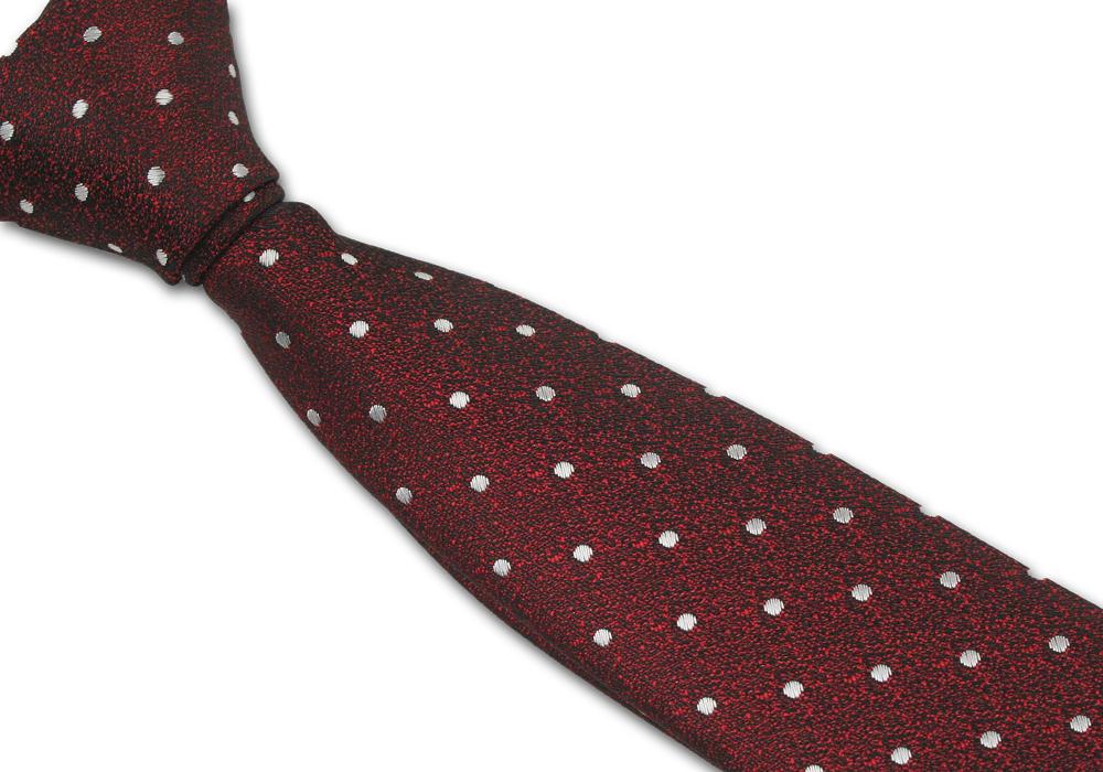 Elegantní červená pánská kravata s puntíky