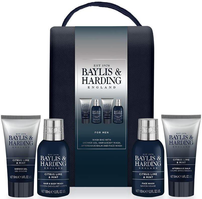 Baylis & Harding Limetka a Máta 2v1 šampon a sprchový gel 100 ml + pleťový mycí gel 100 ml + balzám po holení 50 ml + sprchový gel 50 ml, kosmetická sada pro muže