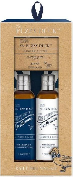 Baylis & Harding The Fuzzy Duck Zázvor a Limetka 2v1 šampon a sprchový gel 240 ml + balzám po holení 240 ml + toaletní mýdlo 100 g, kosmetická sada pro muže