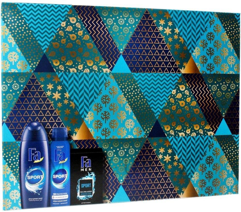 Fa Men Active Sport Energizing sprchový gel 250 ml + Sport Energizing Fresh deodorant sprej pro muže 150 ml + Sport Refreshing voda po holení 100 ml, kosmetická sada