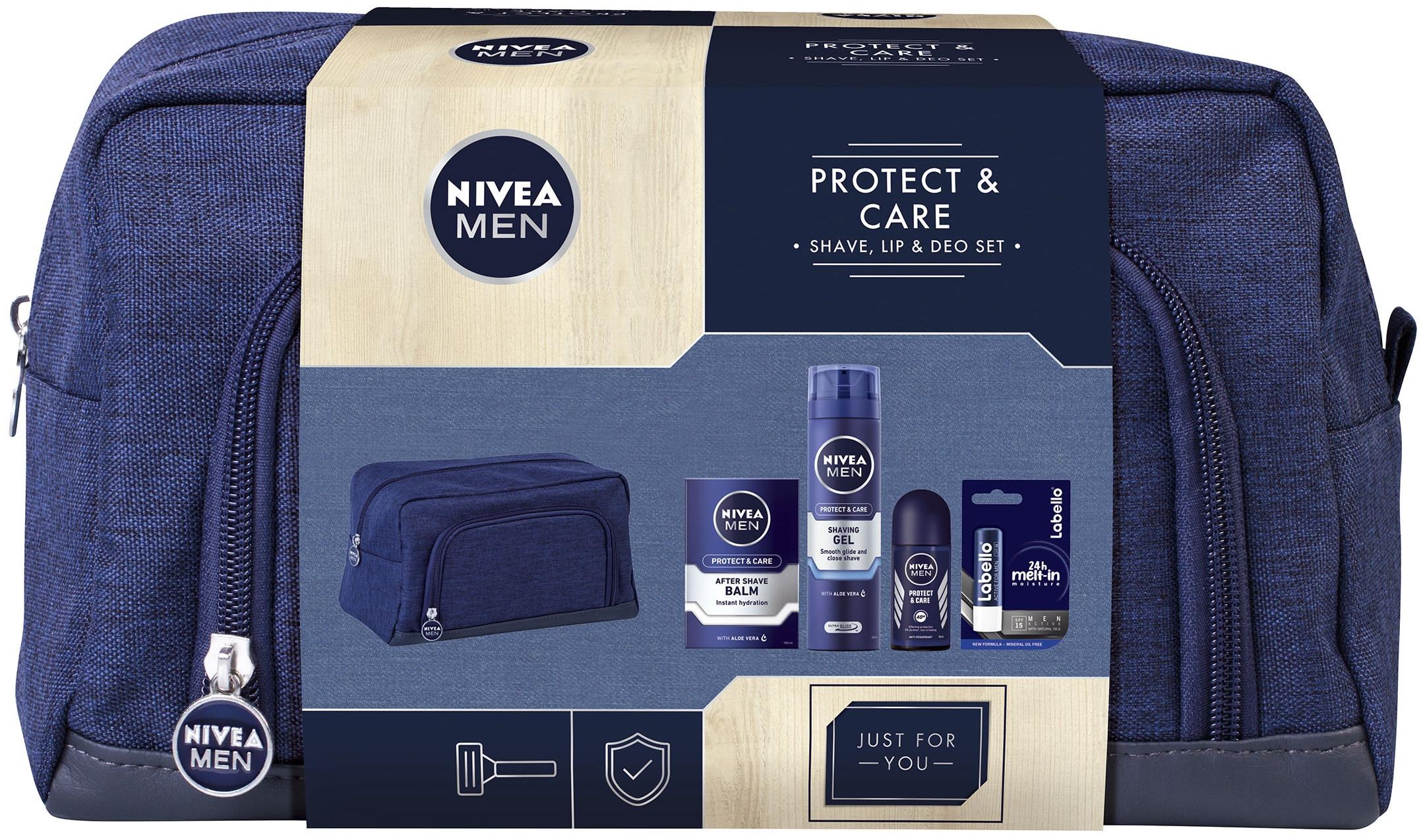 Nivea Men Protect & Care balzám po holení pro muže 100 ml + gel na holení 200 ml + kuličkový antiperspirant pro muže 50 ml + Labello Active for Men balzám na rty 4,8 g + taška, kosmetická sada