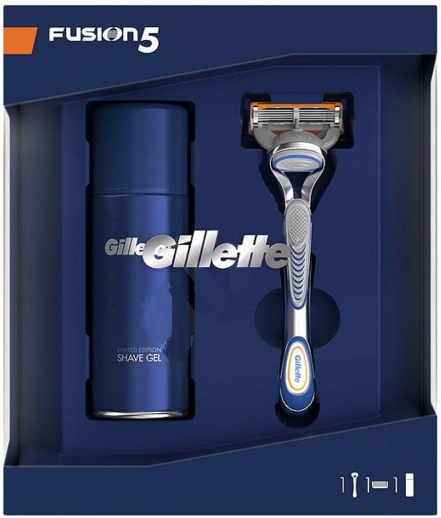 Gillette Fusion5 holicí strojek pro muže + Ultra Sensitive hydratační gel na holení 75 ml, kosmetická sada